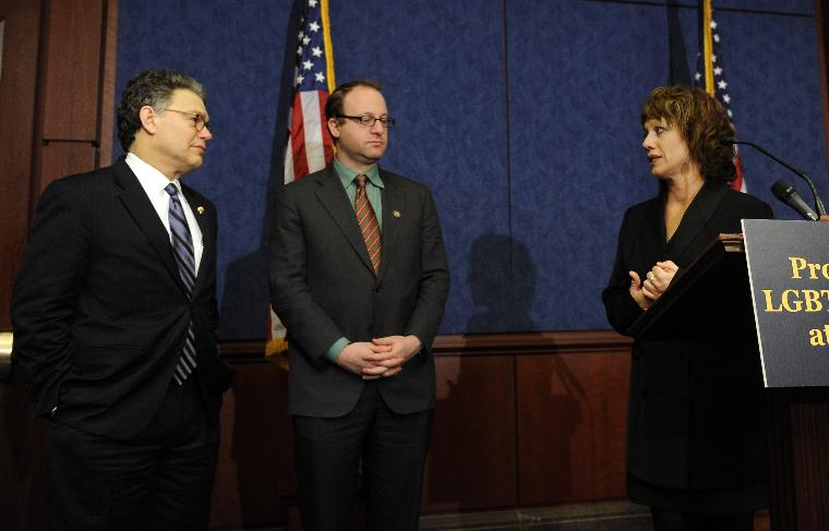Sen. Franken introduces LGBT protection legislation for students in Washington: Wendy Walsh speaks during a news conference to reintroduce legislation that would help protect students from bullying, harassment and discrimination based on sexual orientation or gender identity on Capitol Hill in Washington on March 10, 2011. Wash's 13-year-old son Seth took his life after he was bullied at school based on his sexual orientation. At left is Sen. Al Franken, D-MN, at center Rep. Jared Polis, D-CO.    UPI/Roger L. Wollenberg.