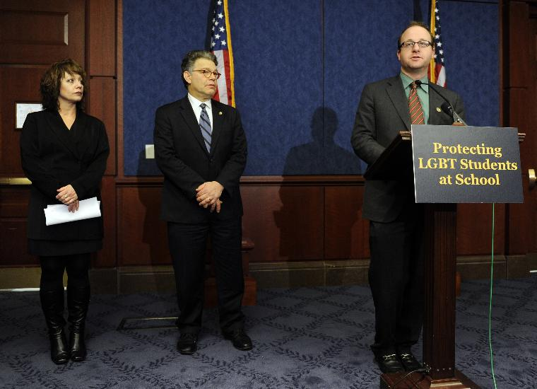 Sen. Franken introduces LGBT protection legislation for students in Washington: Rep. Jared Polis, D-CO, speaks during a news conference to reintroduce legislation that would help protect students from bullying, harassment and discrimination based on sexual orientation or gender identity on Capitol Hill in Washington on March 10, 2011. At center is Sen. Al Franken, D-MN, at left is Wendy Walsh. Wash's 13-year-old son Seth took his life after he was bullied at school based on his sexual orientation.    UPI/Roger L. Wollenberg.