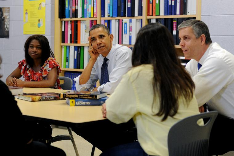 President Obama Discusses Student College Loans in Virginia: U.S. President Barack Obama and Secretary of Education Arne Duncan (R) participate in a roundtable discussion on affordable higher education with high school students and their parents at Washin
