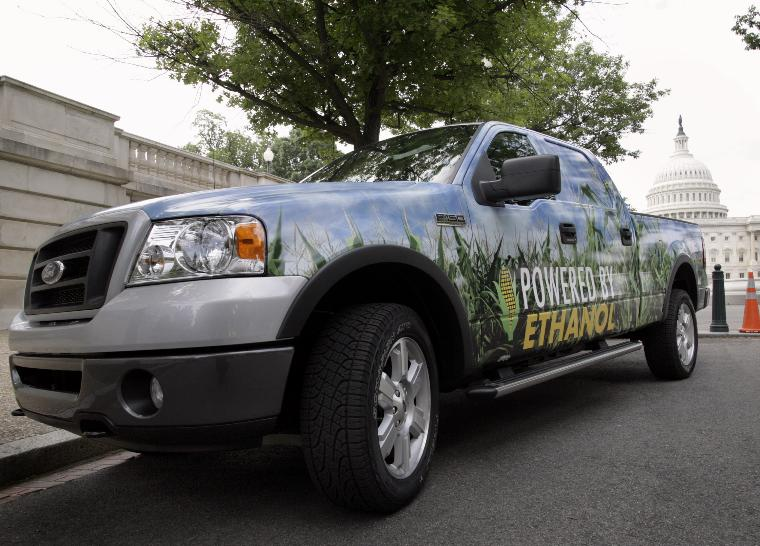 A NEWS CONFERENCE ON ALTERNATIVE ENERGY REFUELING SYSTEM ON CAPITOL HILL: An ethanol powered Ford F-150 is displayed outside of U.S. Capitol in Washington before a news conference to highlight the Alternative Energy Refueling System Act of 2006 (H.R.5346) on May 17, 2006. The legislation would provide
