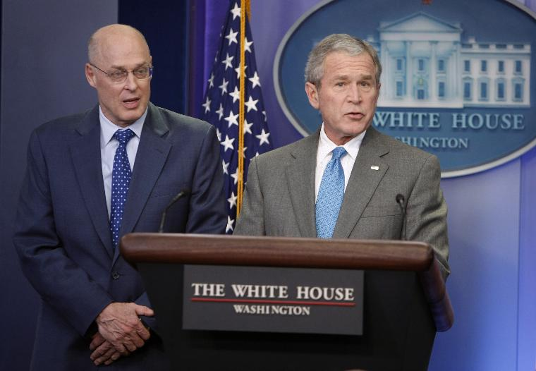 US President George W. Bush makes a statement on the economy from the White House in Washington, D.C.: U.S. President George W. Bush with U.S. Secretary of Treasury Henry Paulson, makes a statement on the economic stimulus package passed by the U.S. Congress today during a briefing at the White House in Washington, on January 24, 2008.  Congressional leaders and the White House reached a tentative agreement on an economic stimulus package of roughly $150 billion that would pay stipends of $300 to $1,200 per family and provide tax incentives for businesses to encourage spending.   (UPI Photo/Shawn Thew/Pool)