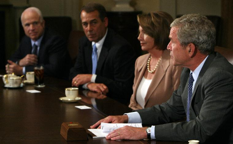 Bush holds meeting with Congressional leaders on financial bailout in Washington: U.S. President George W. Bush prepares to host a meeting with Republican and Democratic Congressional leaders to discuss the current economic crises in the Cabinet Room of the White House on September 25, 2008. From left are Republican Presidential Nominee Sen. John McCain, AZ, House Minority Leader John Boehner, R-OH, Speaker of the House Nancy Pelosi, D-CA, and Bush. The administration and Congress are nearing a deal on an economic bailout package.   (UPI Photo/Kristoffer Tripplaar/POOL)