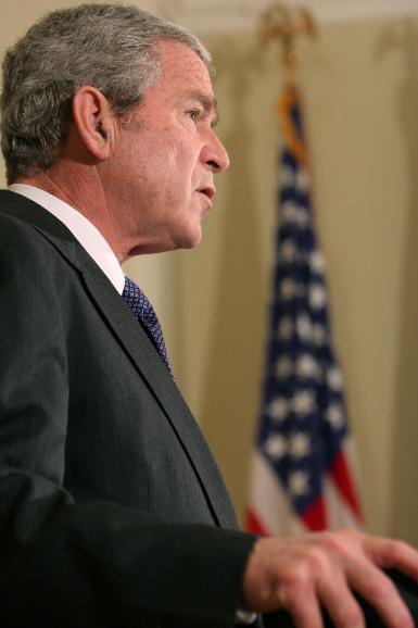 Bush bails out auto companies in Washington: U.S. President George W. Bush announces a $13 billion plan to assist automakers in the Roosevelt Room of the White House in Washington on December 19, 2008. The loan comes from the Troubled Asset Relief Program (TARP) and is intended to help Ford, GM and Chrysler buy time to restructure, increase profitability and stave off bankruptcy until at least March. (UPI Photo/Ken Cedeno/POOL)