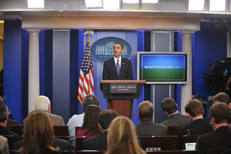 Obama speaks on AARP and AMA endorsement of his health care plan at White House: U.S. President Barack Obama speaks in the Brady Briefing Room of the White House thanking the American Association of Retired Persons (AARP) and the American Medical Association (AMA) for their support of his effort to reform the U.S. health care system in Washington on November 5, 2009. UPI/Ron Sachs/Pool