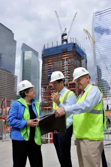DHS Secretary Janet Napolitano visits the costruction site of the 9/11 terrorist attacks in New York: Department of Homeland Security (DHS) Secretary Janet Napolitano (L) receives a tour of new construction at the site where the September 11, 2001 terrorist attacks destroyed the World Trade Center Twin Towers, in New York on September 10, 2010. Deputy Executive Director of the Port Authority of New York and New Jersey Bill Baroni (C) and the Port Authority Director of World Trade Center Construction Steve Plate join Secretary Napolitano. UPI/Michael Dombrowski/The Port Authority of New York & New Jersey